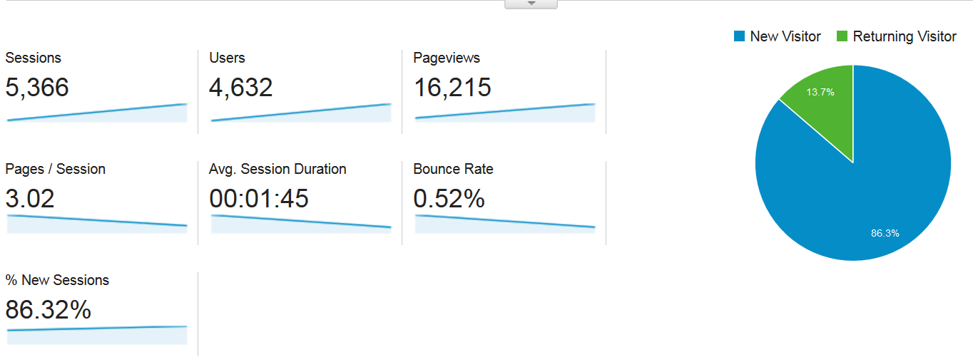 google analytics screenshot first month