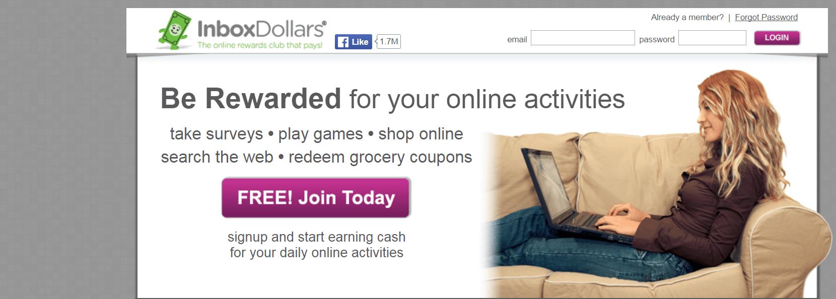 inbox dollars homescreen