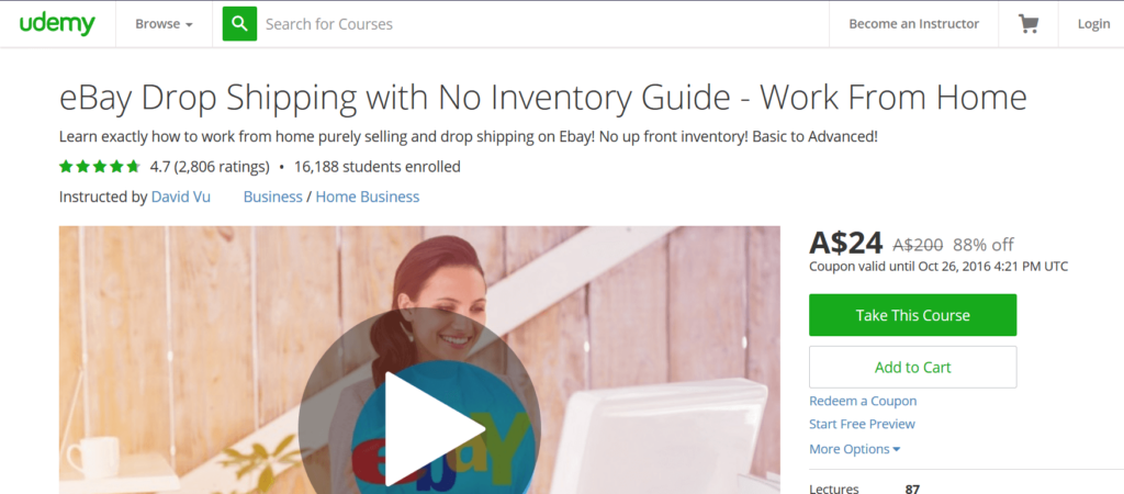 eBay Drop Shipping with No Inventory Guide - Work From Home