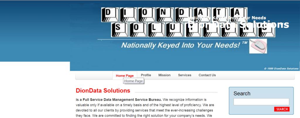 DionData Solutions Homescreen