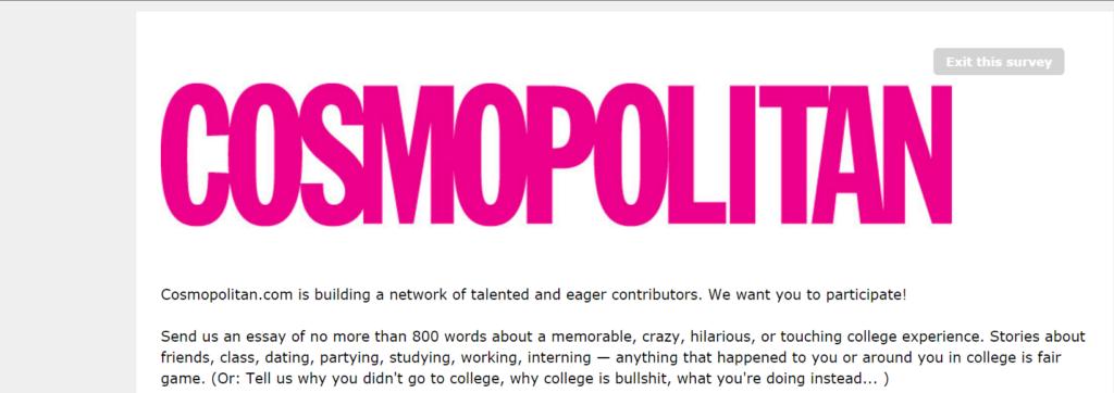 Survey Monkey - Cosmopolitan