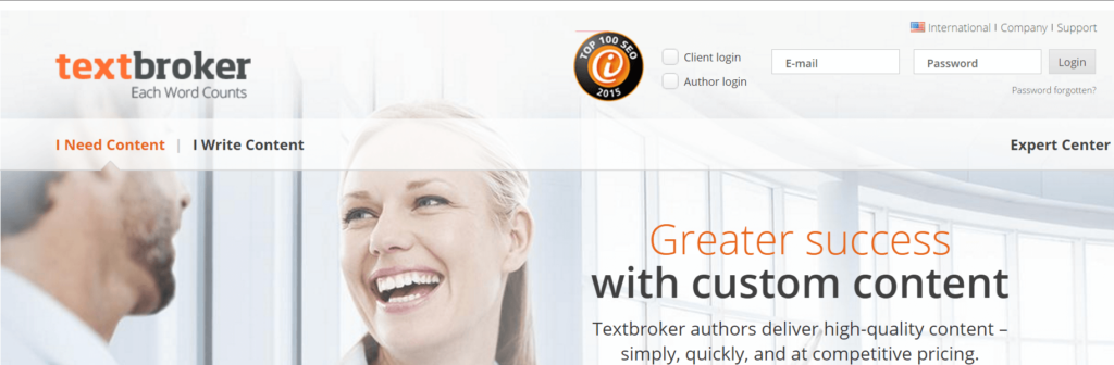 textbroker Homescreen
