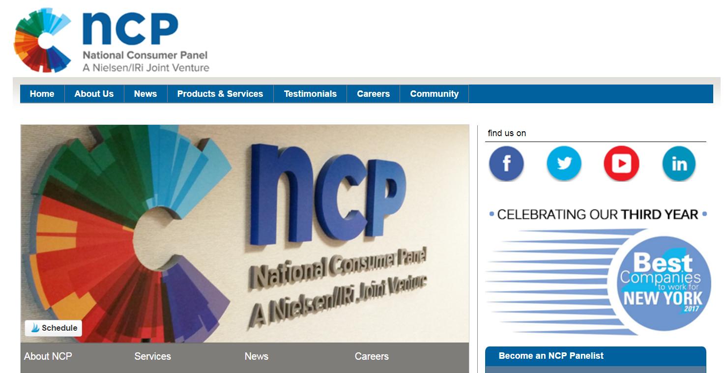 National Consumer Panel Homescreen