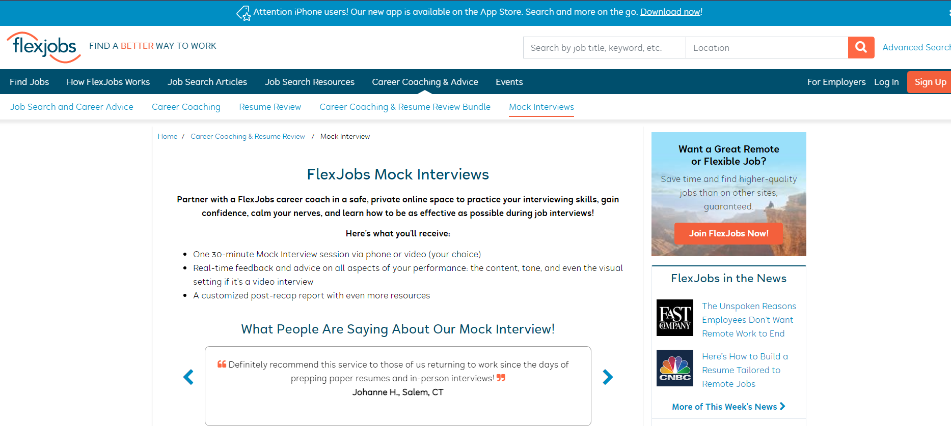 flexjobs mock interviews