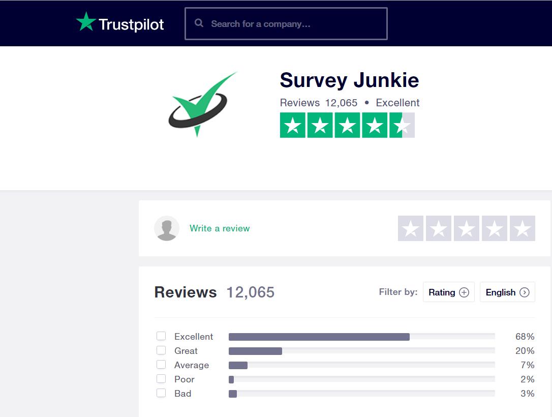 trust pilot survey junkie review