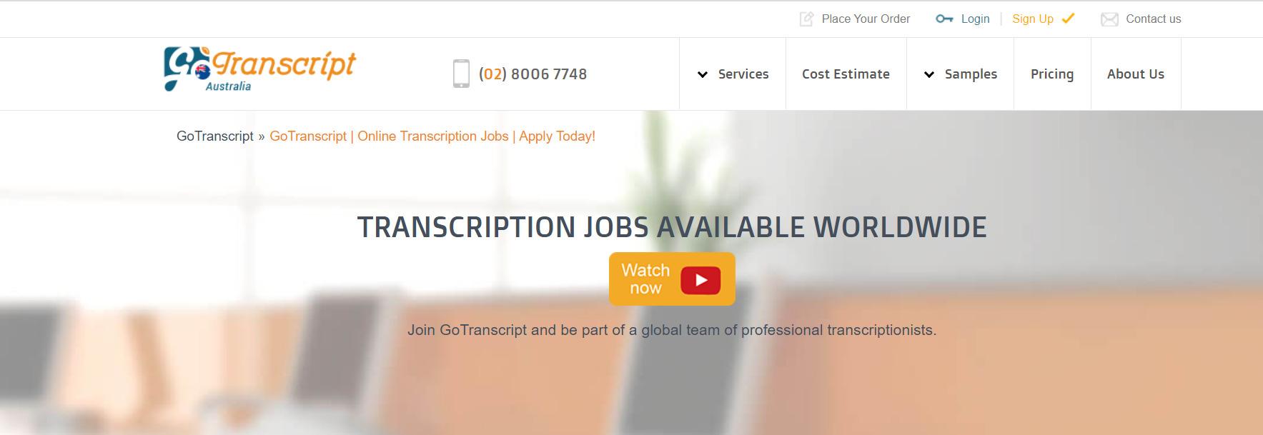 gotranscript jobs