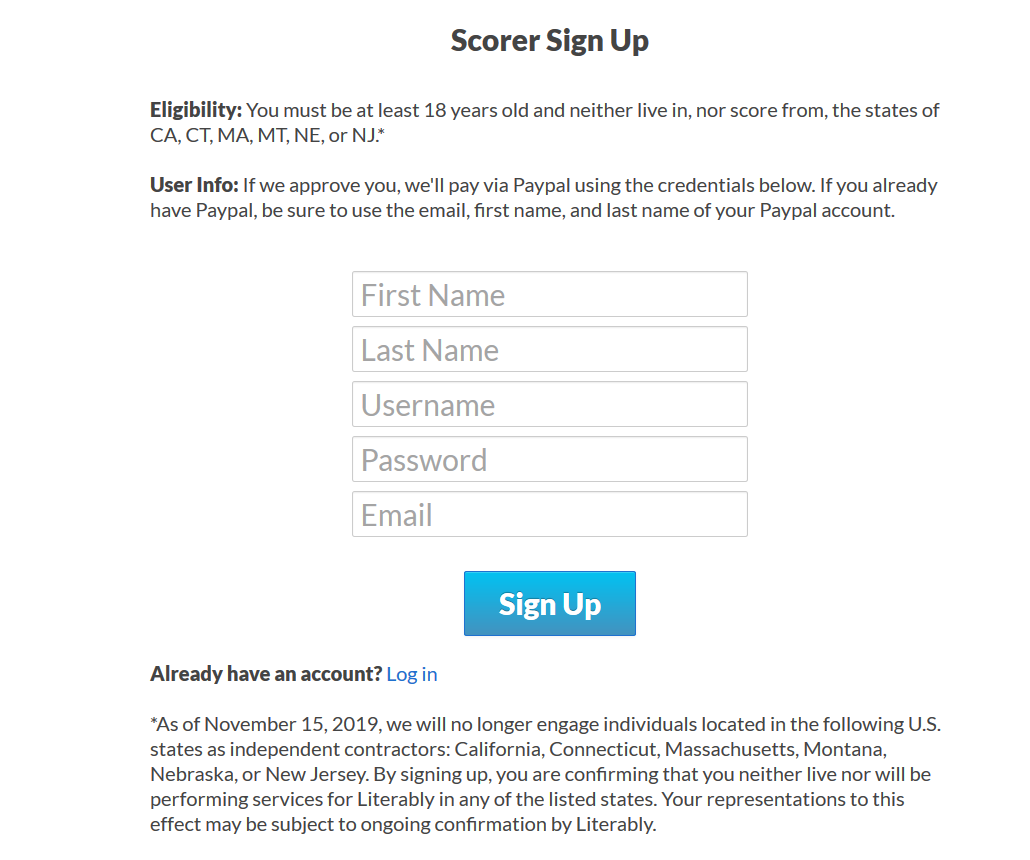 literably scorer signup
