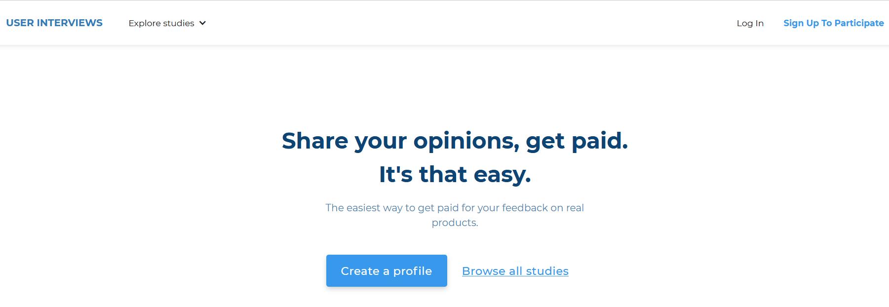 user interviews homepage